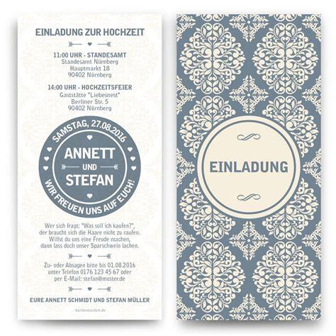 Hochzeitseinladung Ornament by Hochzeit Einladung Mit Ornament Motiv Mit Eigenem Text