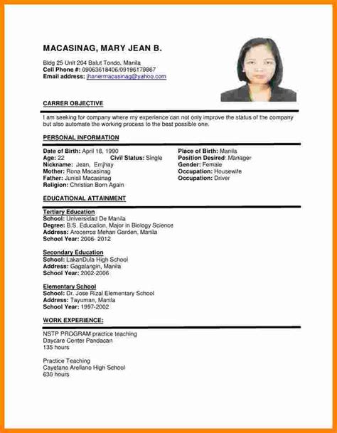 exle of cv resume for 8 cv format sle theorynpractice