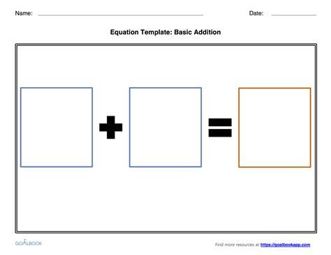 pop up math probloms card template addition and subtraction equation templates goalbook