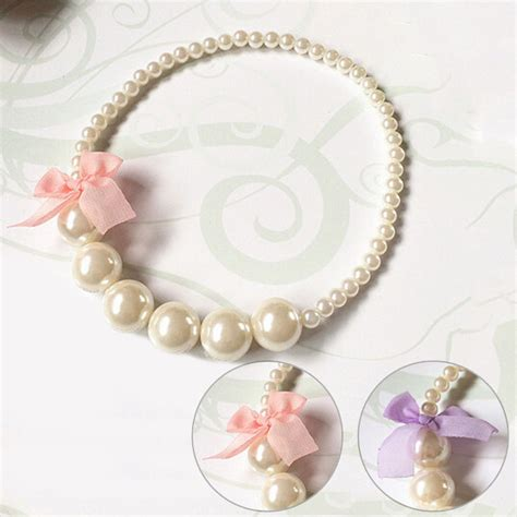 princess imitation pearls necklace baby toddler