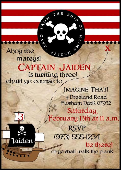 Pirate Birthday Card Template pirate birthday invitations wording free