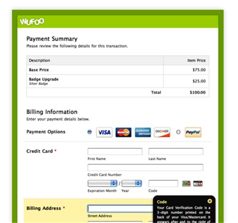 paypal payment page template paypal integration accept payments wufoo