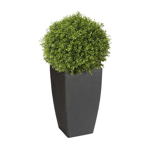 Algreen Madison 20 In Square Charcoal Rounded Plastic Home Depot Planters