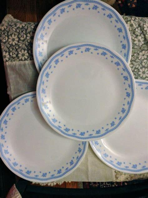 corelle flower pattern vintage corelle morning blue set of four plates blue