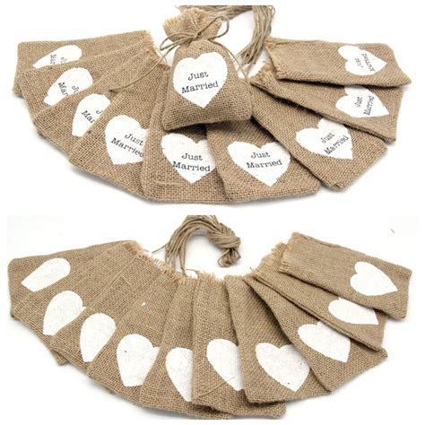 just married small jute bag cheap wedding burlap gift bags