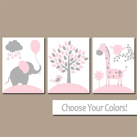 pink gray nursery wall art canvas or prints jungle