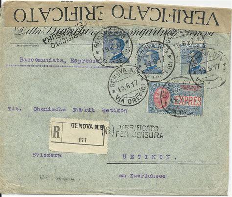 Expressbrief Schweiz Italien 1917 Zensur Einschreiben Express Brief V Genova No 9 I D Schweiz 183 Heiner Zinoni