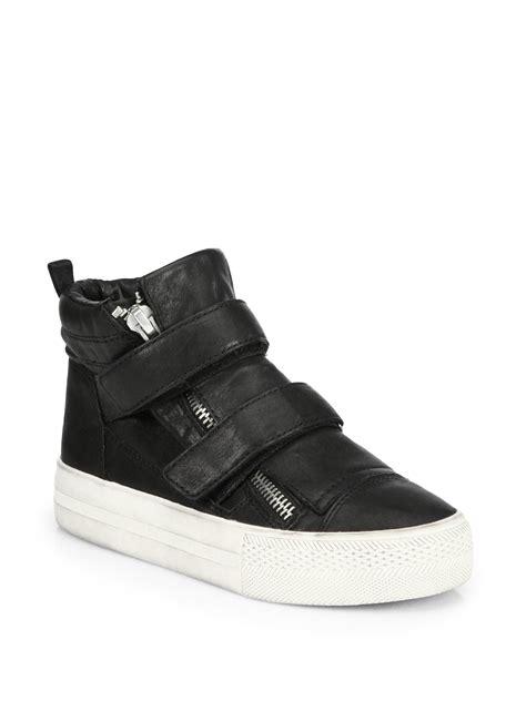 mens platform sneakers ash jump leather platform sneakers in black for lyst