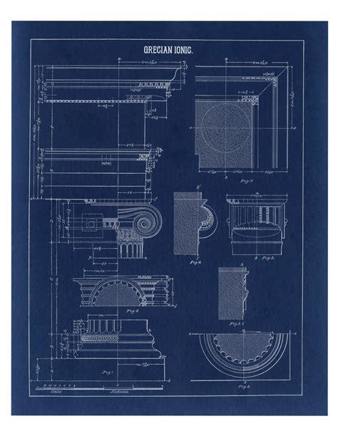 wall blueprints blueprint wall decor greek ionic column drawing architecture