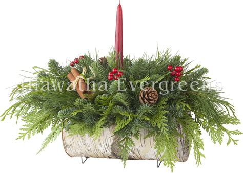 Christmas Centerpieces Pictures - hiawatha evergreens birch log centerpiece