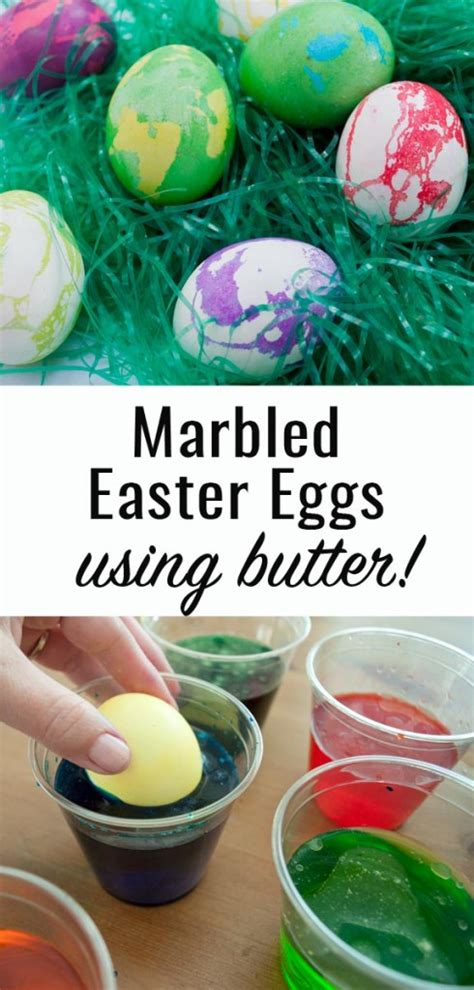 how to make marbled easter eggs using butter clumsy crafter