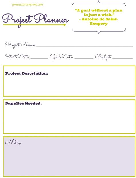 Project Planners by Free Project Planner Printable Sparkles Of