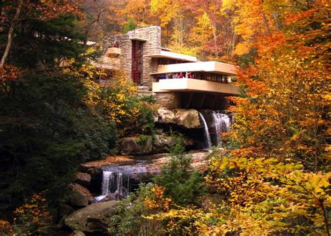 Falling Water House by Architect Frank Lloyd Wright S Fallingwater Purple Clover