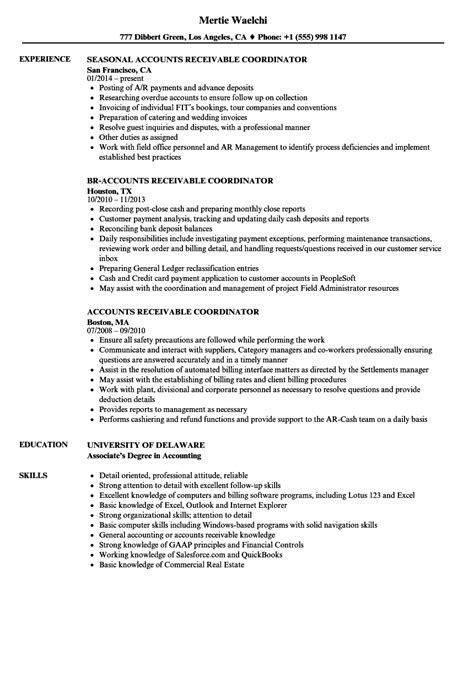 Accounts Receivable Coordinator Sle Resume by Accounts Receivable Coordinator Resume Sles Velvet