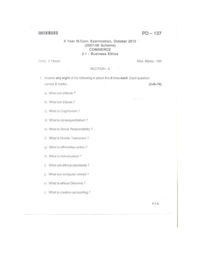 Bangalore Mba Question Papers by Bangalore Second Year M Examination