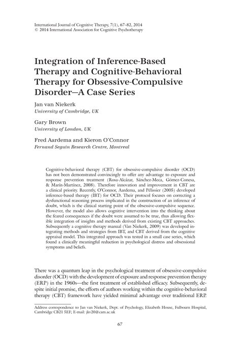 Pdf Integration Of Inference Based Therapy And Cognitive