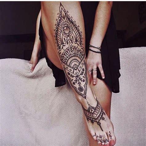 tattoo leg instagram henna style leg tattoo blackwork tattooedgirl