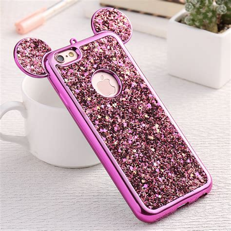 Iphone 7 3d Fashion Model Phone Cover T1910 2 fashion 3d mickey mouse for iphone 6 6s 7 plus 5s rhinestone glitter silicone coque