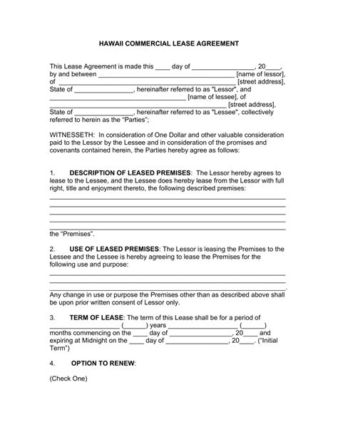 Free Hawaii Commercial Lease Agreement Template Pdf Word Eforms Free Fillable Forms Free Rental Agreement Template Hawaii