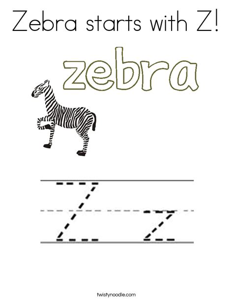 color that starts with z zebra starts with z coloring page twisty noodle