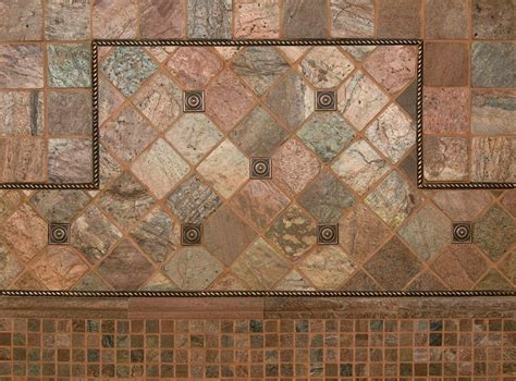 Kitchen Medallion Backsplash by Copper 4x4 Tumbled Tilesbay Com
