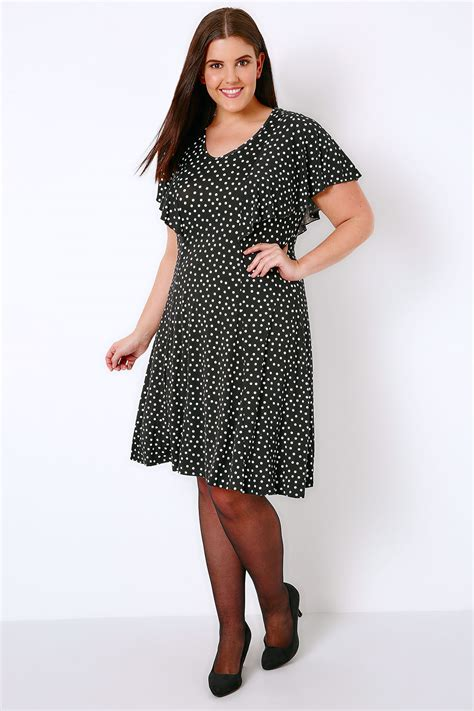 Dress 2 In 1 Dot White black white polka dot frill dress plus size 16 to 32