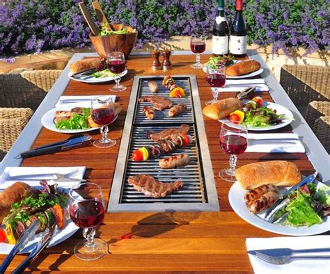 table with grill built in the 8 seater barbecue table outdoor cooking wood table