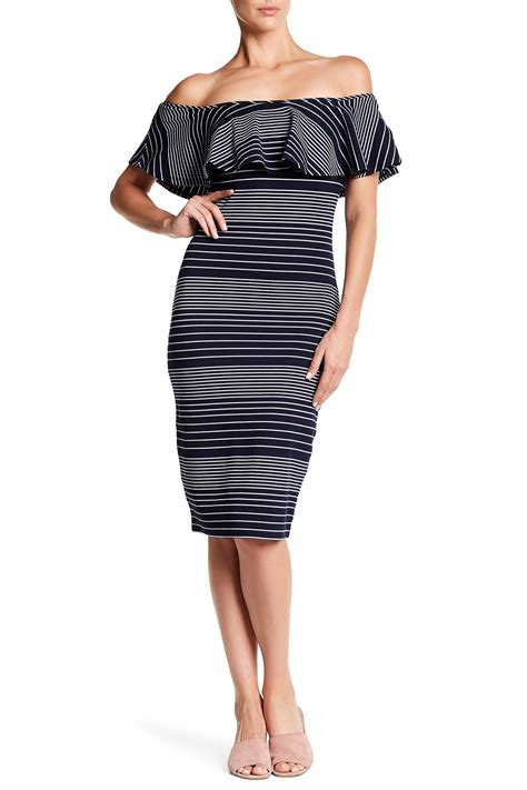 43122 Black Jumpsuit romeo juliet couture striped the shoulder bodycon dress nordstrom rack