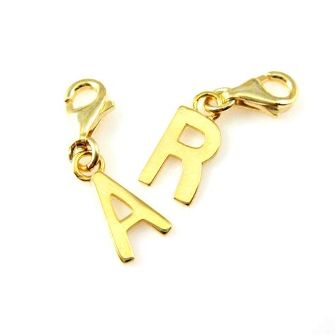 letter charm smooth 18k gold plated sterling silver letter charms
