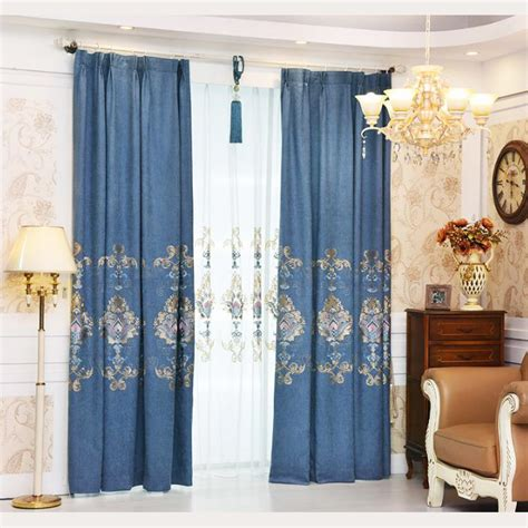vintage chenille curtains blue floral embroidery chenille vintage thermal curtains