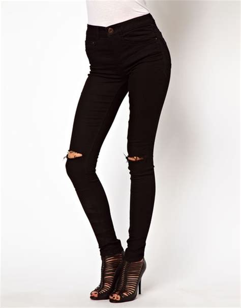 Jegging Cut Knee Ripped Big Size Black Soft asos ridley supersoft high waisted ultra in black with ripped knees in black lyst