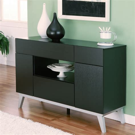 Furniture Of America Miura Modern Multi Storage Black Black Modern Buffet