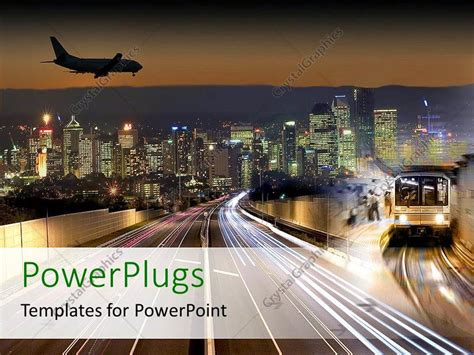 Powerpoint Template Transportation Flying In Airplane Public Transport Train Subway City Lights Powerpoint Templates Transportation