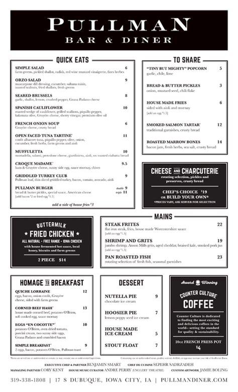 layout menu bar art of the menu pullman bar diner pinteres