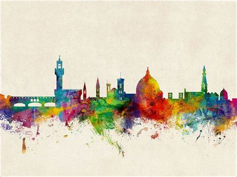watercolor tattoo verona florence skyline florence italy cityscape print by