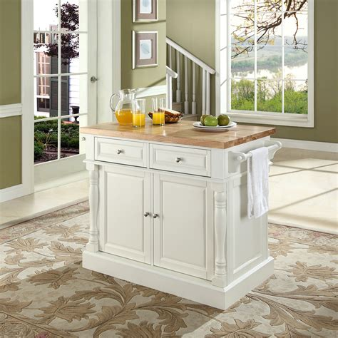 butcher block top kitchen island in white finish crosley