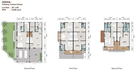 House Plans 2000 Sq Ft terraced house floor plan malaysia