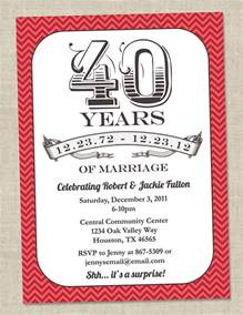 40th wedding anniversary invitation templates wedding invitation wording 40th wedding anniversary