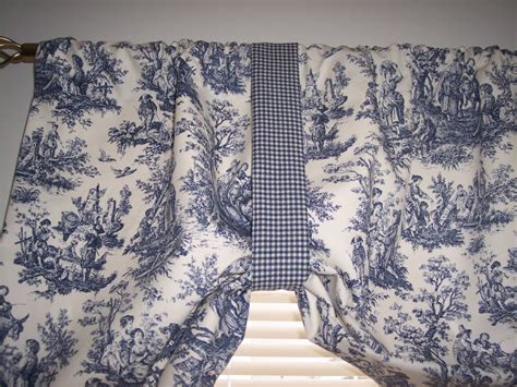 Waverly Toile Curtains New Navy Delft Blue On White Waverly Rustic Toile Tie Up Swag Valance Curtains Ebay