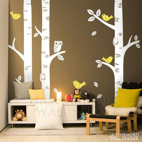 Aliexpress Com Buy Large Owl Birds Birch Tree Wall Decal Baby Nursery Wall Decals Tree