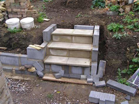 How To Build Concrete Steps cinder block with paver on top landscaping ideas cinder yards and gardens