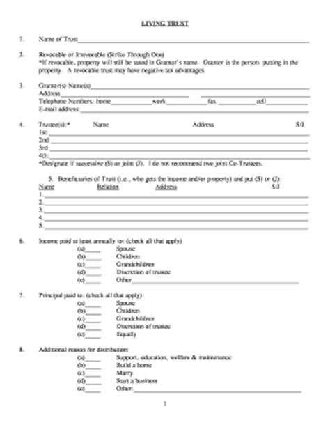 Irrevocable Living Trust Agreement Forms And Templates Fillable Printable Sles For Pdf Revocable Trust Template Free
