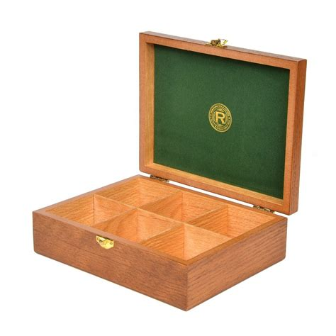 small wooden storage box with 6 compartments ringtons