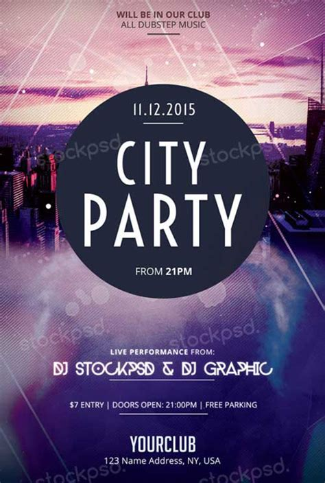download city party free psd flyer template for photoshop