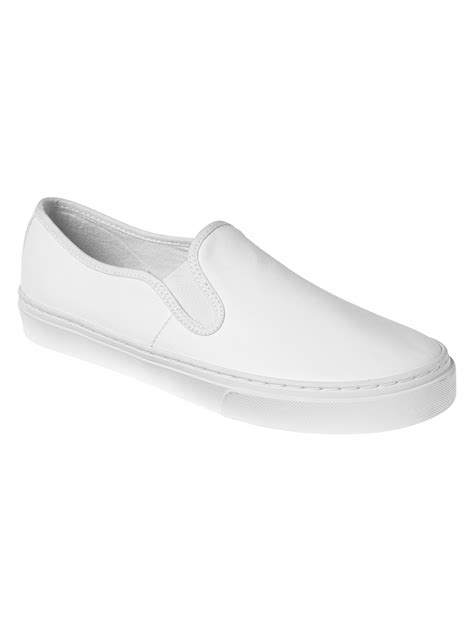 white slip on sneakers for gap leather slip on sneakers in white lyst