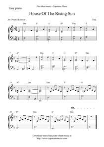 free piano sheet score house of the rising sun
