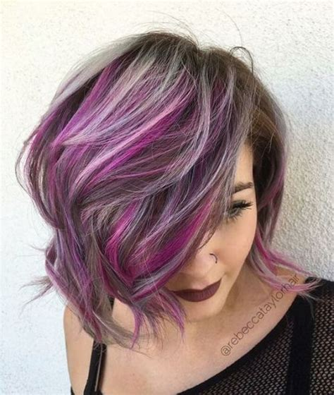 Purple Hair Middle Age Women | 30 stylish and sassy bobs for round faces