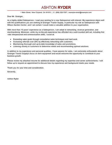 Leading Professional Salesperson Cover Letter Examples