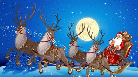 santas sleigh and reindeer wallpaper www pixshark com
