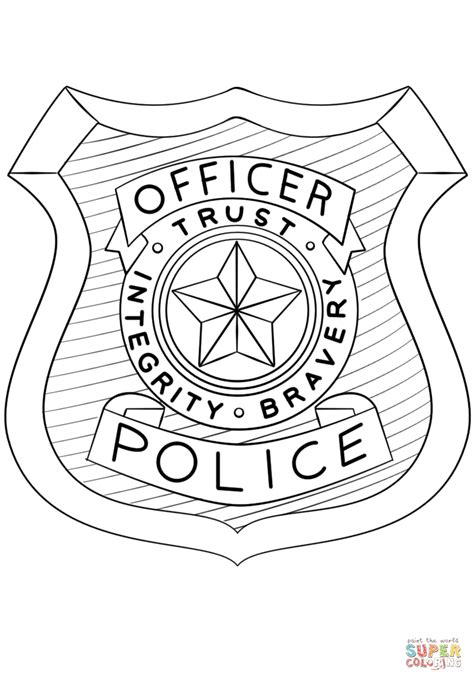 the color badge officer badge coloring page www pixshark